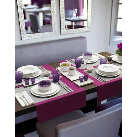 Servies 24 moderne witte dinerborden en 12 porseleinen kopjes - Monaco
