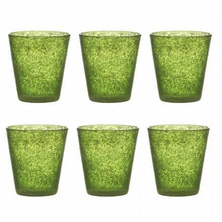 Set van 12 gekleurde geblazen glazen met een modern design - Pumba
