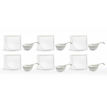 Aperitiefservies 12-delige moderne witte porseleinen designborden - Nalah
