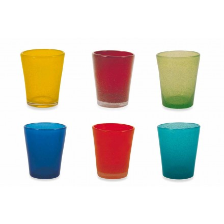 Waterglas Service 12 stuks geblazen en gekleurd glas - Yucatan Folk