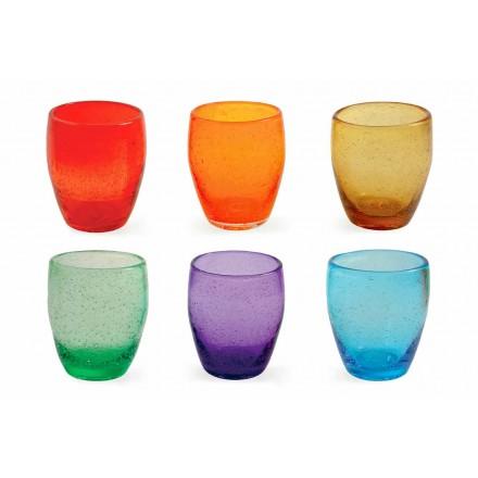 Waterglas servies in gekleurd en modern glas 12 stuks - Guerrero