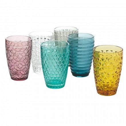 Modern drinkgerei in gedecoreerd gekleurd glas 12-delig - Mix
