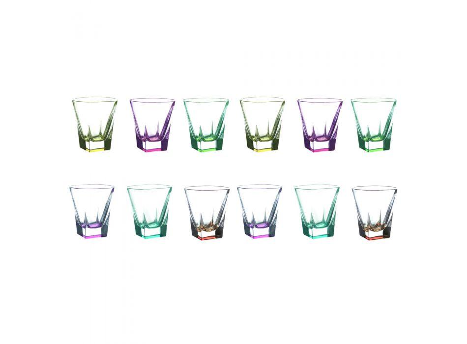 12 stuks Eco Gekleurde Kristallen Likeurglazen Service - Amalgaam