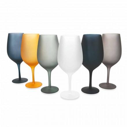 Rode of witte wijndrinkbeker in gekleurd glas, 12 stuks - rand