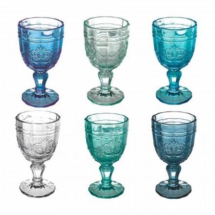 Set gekleurde wijnbeker in glas en decoratie in oosterse stijl 12 stuks - schroef