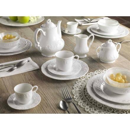 Complete ontbijtservice 22 stuks in wit porselein - Gimignano