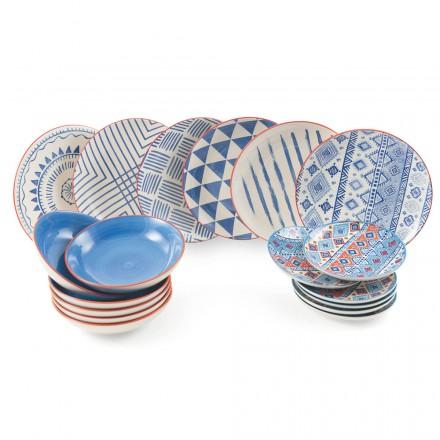 Complete tafelservice Gekleurde en moderne gerechten 18 stuks design - Inca's