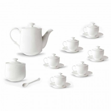 Complete service van koffiekopjes 21 stuks in wit porselein - Samantha