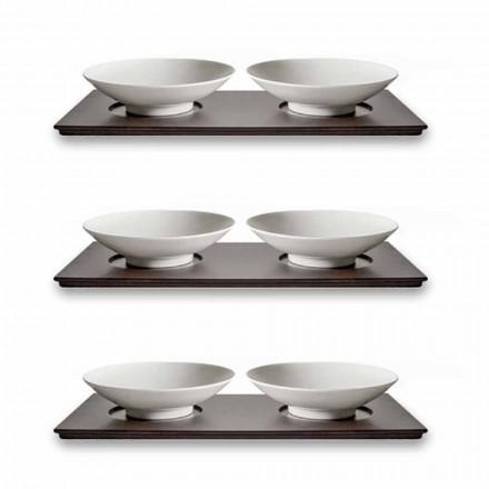 Servies voor kleine bekers met houten dienblad Modern elegant ontwerp 9-delig - Flavia