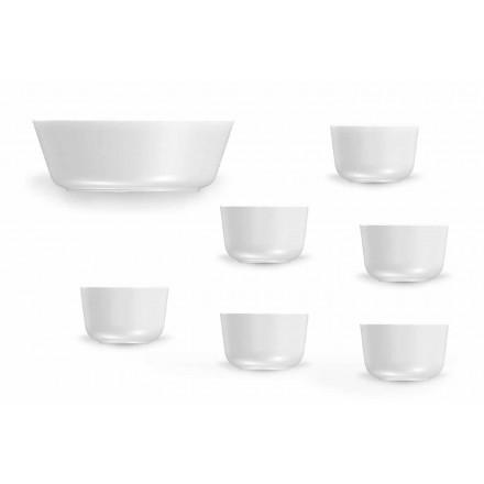 Set van 7 kopjes en kommen in wit porselein, modern design - Arctic