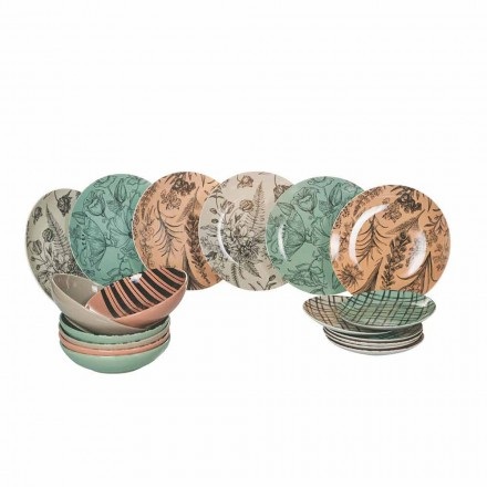 Complete tafelservieschotels in gekleurd porselein 18-delig - Ballet