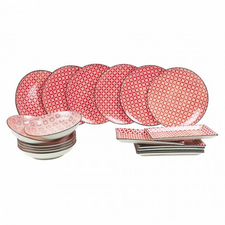 Complete servies rode borden in modern steengoed 18 stuks - Cochenille