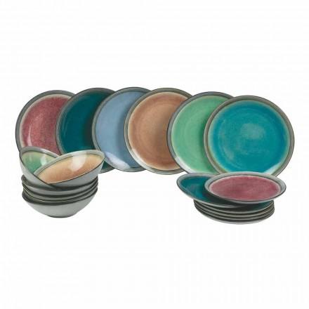 Serviesgoed in modern gekleurd steengoed compleet 18 stuks - Nassau