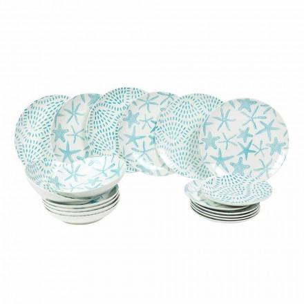 Tafelserviceborden in wit en lichtblauw porselein 18-delig - Cozumel