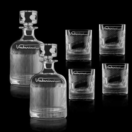 Ecologische kristallen whisky service aanpasbaar met logo, 6 stuks - tactiel
