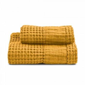 Badhanddoeken van gekleurd katoen en linnen met honingraatmotief - Turis