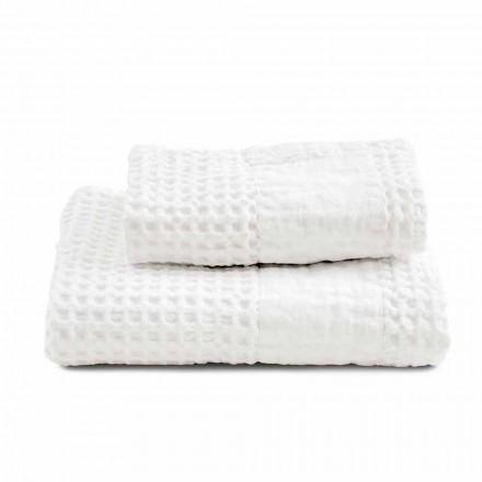 Badkamerset met handdoeken in honingraatkatoen en gekleurd linnen - Turis