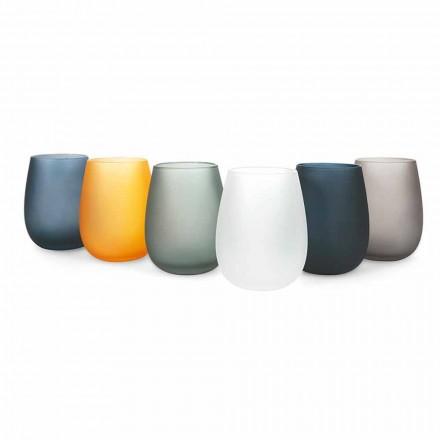 Moderne gekleurde glazen waterglazen set, 12 stuks - rand