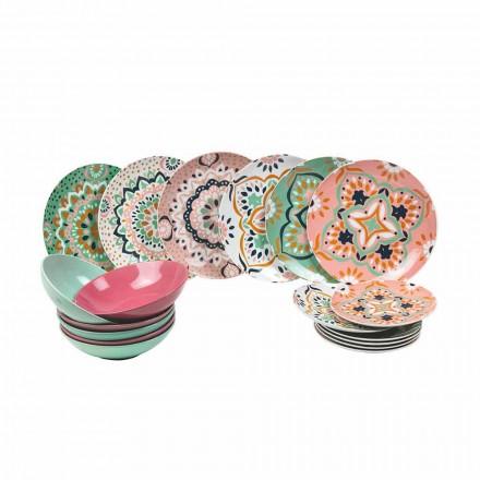 Set van gekleurd servies in porselein 18 stuks - Playasol