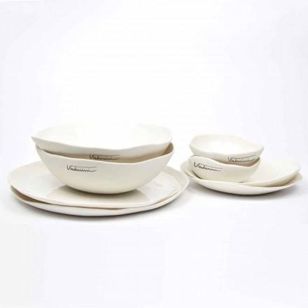 Luxe design 24-delig servies van wit porselein - Arciregale