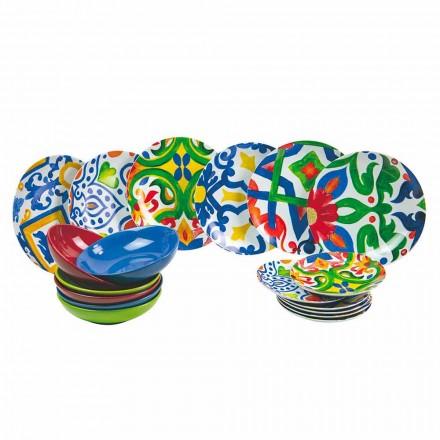 Set van moderne en gekleurde borden in steengoed en porselein 18-delig - ciclade