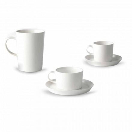 Koffie-, thee- en ontbijtbekerservies 30 stuks in wit porselein - Egle