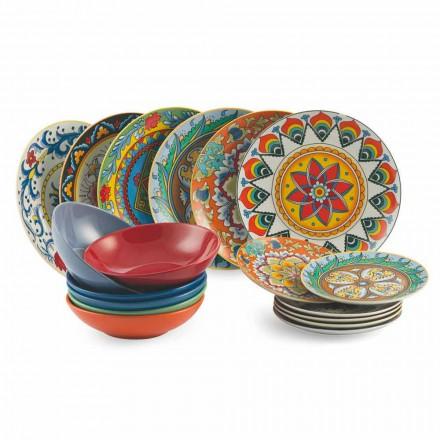 Gekleurde Dinerborden Set 18 Stuks Porselein en Steengoed - Renaissance
