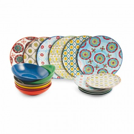 Set moderne etnische gekleurde borden in porselein en aardewerk 18 stuks - Istanbul