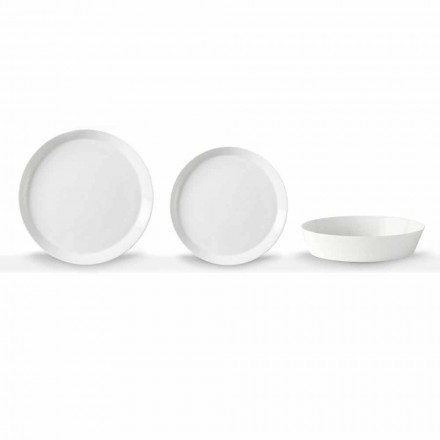 Elegante 18-delige dinerbordenset van wit porselein - Egle