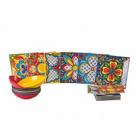 Porselein en steengoed gekleurd dinerbord 18-delig - Aztecas