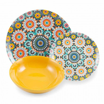 Gekleurde Etnische Dinerborden Set Porselein en Steengoed 18 Mad - Marokko