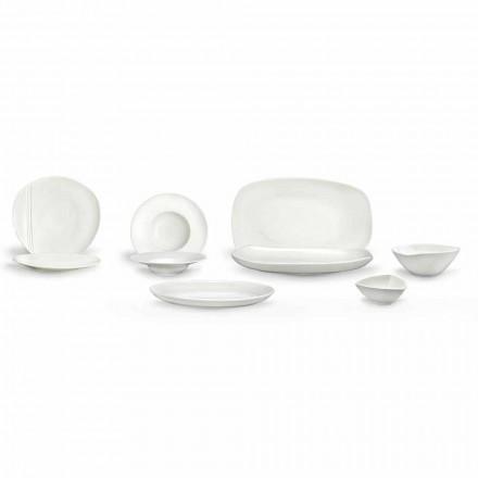 Wit porseleinen servies 23-delig modern en elegant ontwerp - Nalah