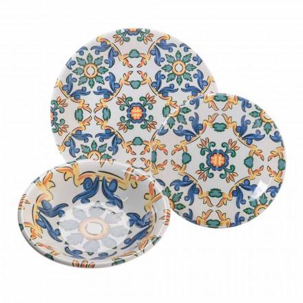 Moderne gerechten in gekleurd keramiek, compleet 18 stuks - abatellis