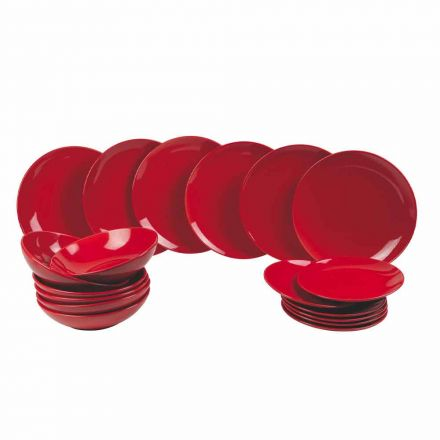 Rode kerstborden in steengoed 18-delig Traditie en elegantie - Rossano