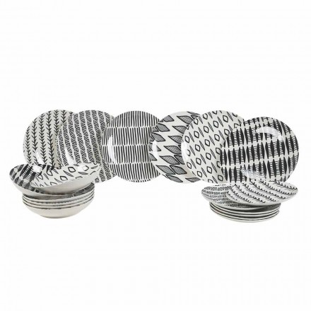 Elegant design 18-delig servies van zwart en wit porselein - Tanzania