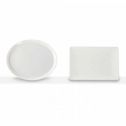 Dinerborden Set Ovaal en Rechthoekig Design 3 Stuks in Porselein - Egle
