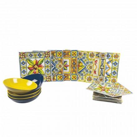 Set moderne gekleurde vierkante borden in porselein 18 stuks - zomer