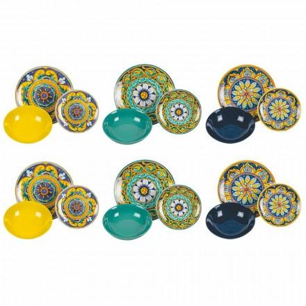 Compleet tafelservies in porselein en gekleurd steengoed 18 stuks - Calabrië
