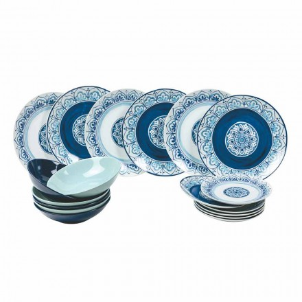 Moderne tafelservies porseleinen en stenen borden compleet 18 stuks - Ravello