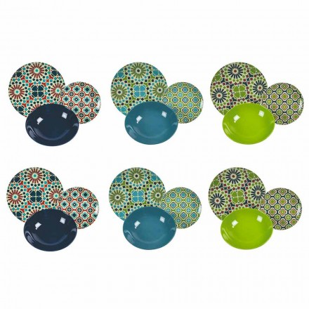 Tafel Servies Schalen Porselein en Modern Gekleurd Steengoed 18 Stuks - Graanschuren