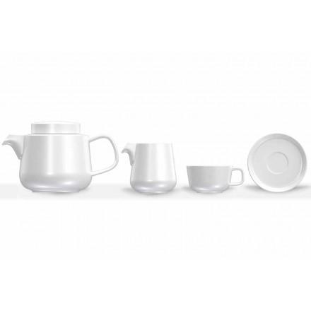 Servies voor kop en schotel van porselein, theepot en melkkan van porselein 14-delig - Arctic