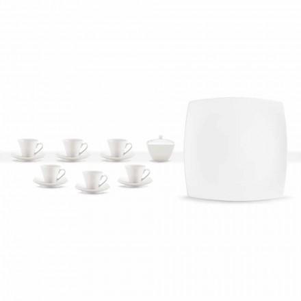 Wit porseleinen koffiekopjes Modern ontwerp 8 stuks - Duomo