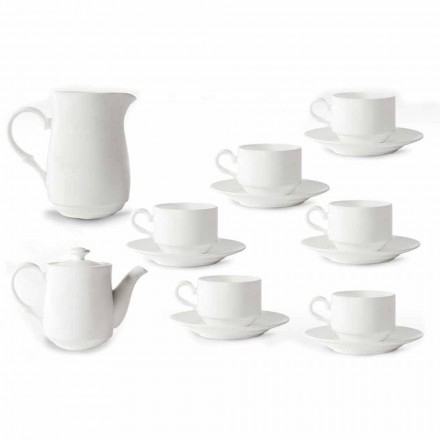 Wit porseleinen cappuccinokopjes service 14 ontbijtstukken - Samantha