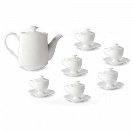 Koffiekopjes servies met voet en deksel 19 stuks in porselein - Armanda