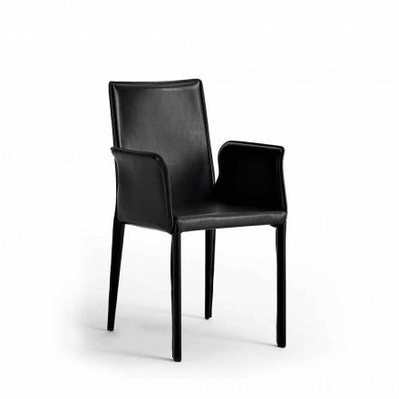 Set 2 ontwerp lederen stoelen Jolie