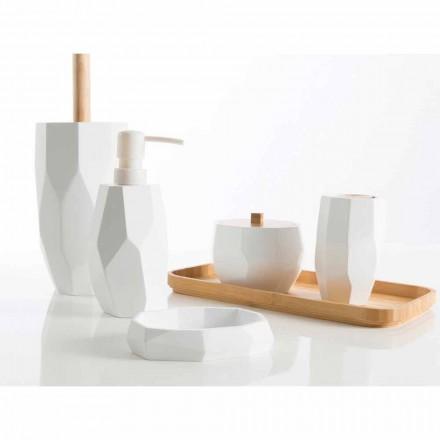 Set design badkameraccessoires in hout en hars Rivalba