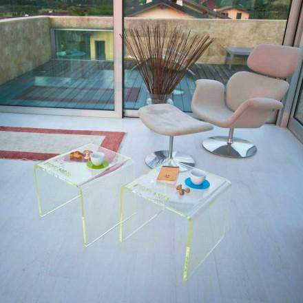 Set van 2 moderne design nachtkastjes in methacrylaat Made in Italy - Leielui