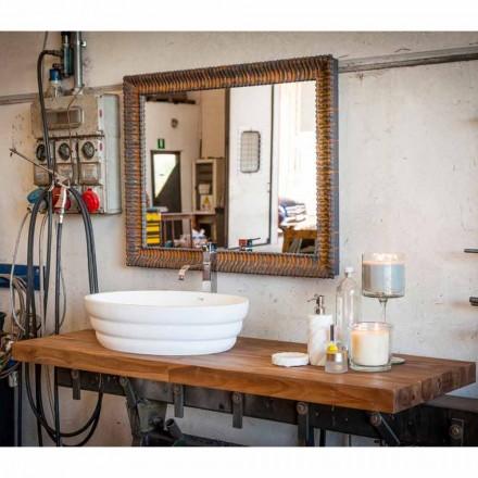 Hangende designmeubelset voor badkamer in teakhouten blokbodem Poggio