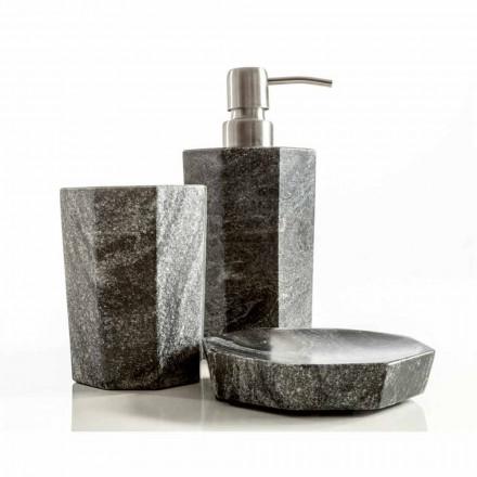 Set van moderne badkameraccessoires in grijsachtig marmer van Montafia
