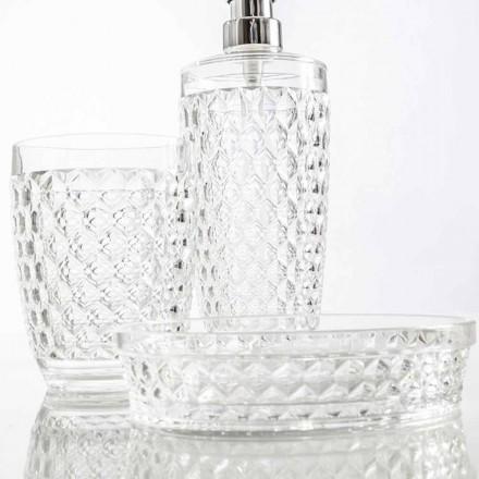 Set voor badkamerdispenser + glas + moderne zeepschaal Netro